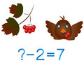 Educational games for children subtract example with berries and bird on a white background Stock Images