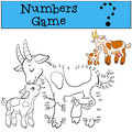 Educational games for kids: Numbers game. Mother goat with baby. Royalty Free Stock Photo