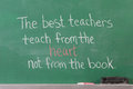 Educational inspirational phrase teachers written chalkboard Stock Photos