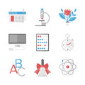 Educational items flat icons set of elementary education online learning and study research elements design style modern Stock Image