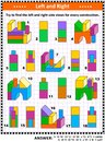 Find left and right side views visual math puzzle with building blocks
