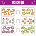Educational mathematical game for kids. Learning counting - more, less or equal