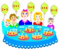 Educational page on addition and subtraction. Which cake will every child receive? Count the candles and solve examples.