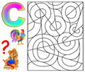 Educational page with letter C for study English. Logic puzzle. Find and paint 5 letters C.
