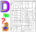 Educational page with letter D for study English. Logic puzzle. Find and paint 5 letters D.