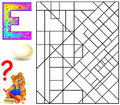 Educational page with letter E for study English. Logic puzzle. Find and paint 5 letters E.