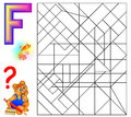 Educational page with letter F for study English. Logic puzzle. Find and paint 5 letters F.