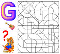 Educational page with letter G for study English. Logic puzzle. Find and paint 5 letters G.