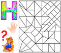 Educational page with letter H for study English. Logic puzzle. Find and paint 5 letters E.
