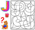 Educational page with letter J for study English. Logic puzzle. Find and paint 5 letters J.