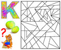Educational page with letter K for study English. Logic puzzle. Find and paint 5 letters K.