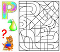 Educational page with letter P for study English letters. Logic puzzle. Find and paint 5 letters P.