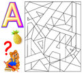 Educational page with letter A for study English. Logic puzzle. Find and paint 5 letters A.