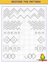 Educational page on square paper for little children. Printable worksheet for kids school exercise book. Draw the missing lines Royalty Free Stock Photo