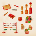 Educational toys collection learning through play watercolor drawings Stock Image