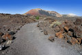 Educational trail at the montana ortiz in lanzarote volcanic on border of timanfaya national park on canary islands spain Stock Photo