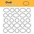Educational worksheet for kids kindergarten, preschool and school age. Geometric shapes. Oval, circle, octagon. Find and