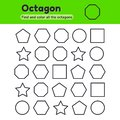 Educational worksheet for kids kindergarten, preschool and school age. Geometric shapes. Pentagon, octagon, hexagon