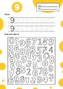Educational worksheet for preschool and school kids. Number game for children. Trace, find and color nine
