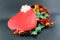 Eeart candy box heart shaped red for valentines day Stock Photo