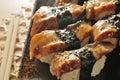 Eel sushi japanese fish platter Royalty Free Stock Photo