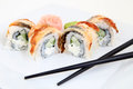Eel sushi traditional sushi rolls japanese Royalty Free Stock Photos