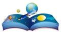 Een boek die de aarde en andere planeten tonen Stock Fotografie
