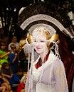 Een fan van Star Wars kleedde zich als Prinses Amadalla Stock Foto
