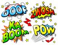 Effect bubbles with ooof zwosh ka boom pow vector illustration of four colorful Royalty Free Stock Photo