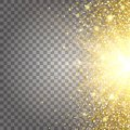 Effect of flying parts gold glitter luxury rich design background. Light gray background from the side. Stardust spark