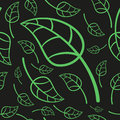 Effective green leaves seamless pattern vector illustration of cute leafs background Royalty Free Stock Images
