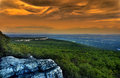 Effective lighting at minnewaska state park reserve upstate ny during summer time Stock Photo