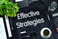 Effective Strategies on Black Chalkboard. 3D Rendering. Royalty Free Stock Photo