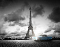 Effel Tower, Paris, France and retro car. Black and white Royalty Free Stock Photo