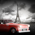 Effel Tower, Paris, France and retro red car Royalty Free Stock Photo
