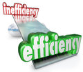 Efficiency vs inefficiency see saw balance productive effective the word wins in the against to illustrate the competitive Royalty Free Stock Photography