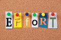 Effort single word the in cut out magazine letters pinned to a corkboard Stock Photography