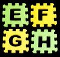 EFGH Alphabet learning blocks isolated Black Royalty Free Stock Photo