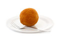 Egg ball (Eierbal) served on saucer Royalty Free Stock Photos