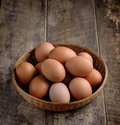 Egg in a basket on wodden table Royalty Free Stock Photo
