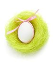 Egg with bow is in the nest of green sisal fibre Stock Photo