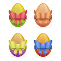 Egg with bow set of easter eggs of different colors colored ribbons Royalty Free Stock Photography