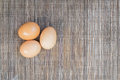 Egg on Brown Table Cloth Royalty Free Stock Photo
