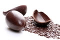 Egg chocolate dark with on white background Royalty Free Stock Images