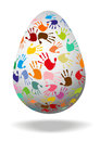 Egg with colorful hand prints d and shadow Stock Image