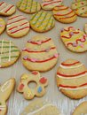 Egg cookies shaped easter and decorated Royalty Free Stock Image