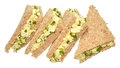Egg and cress sandwiches fresh cut into triangles with crust removed isolated on a white background Royalty Free Stock Image