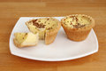 Egg custard tarts on a plate Royalty Free Stock Image