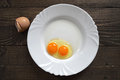 Egg with double yolk on Royalty Free Stock Images