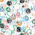 Egg face fun not fun sorry seamless pattern Royalty Free Stock Photo